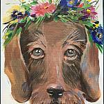 919J — A dog with a wreath.