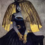 Леди-вампирша в шляпе с золочёной вуалью