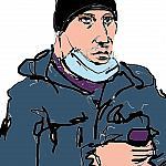 Цветной скетч №731 мужчина с голубой маской в чёрной шапочке